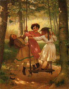 Three Girls on a Swing by John George Brown