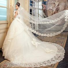 Ball Gown Strapless Floor Length Lace Wedding Dress With Veil From TBdress