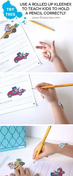 Use Kleenex to teach pencil grip #learning #backtoschool #ad #kindergarten