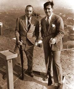 My Love Of Old Hollywood: August 2013.  John Barrymore and Clark Gable enjoy some skeet shooting on John's vast estate that overlooked Beverly Hills and the valley below.