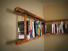 Old wooden ladder turned into book shelf. Old wooden ladder turned into book shelf. Old wooden ladder turned into book shelf. Corner Bookshelves, Ladder Bookshelf, Book Shelves, Bookshelf Ideas, Diy Ladder, Corner Shelf, Creative Bookshelves, Rustic Ladder, Shelving Ideas