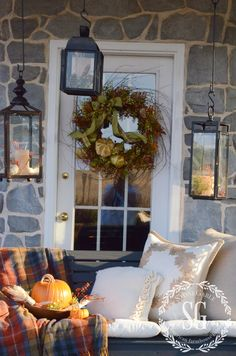 FALL BACK PORCH- swing-wreath-stonegableblog.com