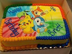 pokemon birthday cake   idee für eine schöne bunte pokemon torte mit vier kleinen pokemon wesen, blauem pinguin, einem gelben pikachu