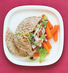 Lunch: Tuna Waldorf Salad Sandwich:In a bowl, mix 1 oz canned albacore white tuna in water, drained, with 1/4 cup each chopped apple and celery, 1 tbsp each raisins and chopped walnuts, 2 tbsp nonfat plain yogurt, 1 tbsp light mayo and 2 tsp fresh lemon juice. Stuff a 6-inch whole-wheat pita with tuna salad and 1/2 cup chopped romaine. Serve with 1/2 cup baby carrots.