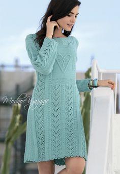 Платье с рельефными косами -  Модное вязание