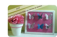 Quadro de borboletas feitas com latinhas de alumínio-