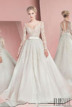 Newset 2016 Spring Zuhair Murad Bridal Gown Sexy See Through Long Sleeves Backless Removeable Skirt Wedding Dresses With Detachable Train