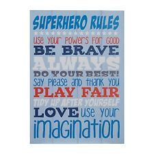 Premier Housewares Kids Super Hero Rules Wall Plaque, Blue. Brand New
