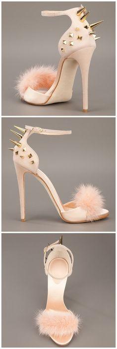 Shoespie Spikes and Fur Heel Sandals #Heels #Sandals
