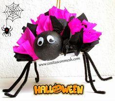 Manualidades-Arañas de papel para halloween Si estas pensando en cómo decorar en este halloween,quédate porque ahora quiero enseñarte cómo hacer arañas para hal