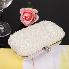 New Clutch Handbag Evening Bag Pearl Diamond White Wedding Party Purse #Unbranded #EveningBagClutch