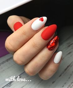 78 Most Fabulous Valentine's Day Nail Art Designs 2019 - Valentinstag Nageldesign Beautiful Nail Art, Gorgeous Nails, Pretty Nails, Cute Red Nails, Fabulous Nails, Valentine Nail Art, Valentines Day Cookies, Nails For Valentines Day, Valentine Nail Designs
