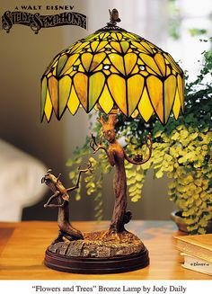 """""""Flowers and Trees"""" Stained Glass Lamp"""