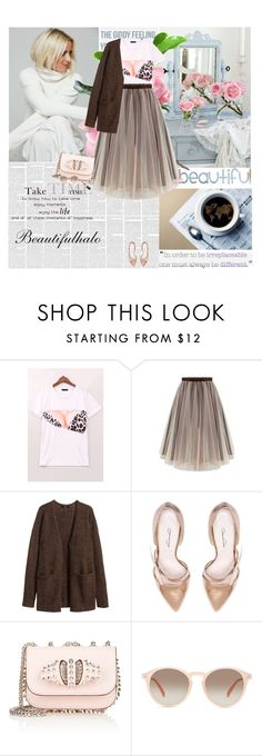 """""""Beautifulhalo"""" by amimcqueen ❤ liked on Polyvore featuring La Maison, Chanel, H&M, Oscar de la Renta, Christian Louboutin, GlassesUSA, women's clothing, women, female and woman"""