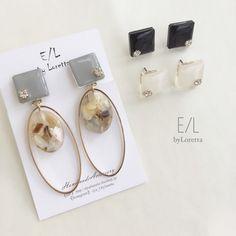 【4/21(sat)21:00 Order START.】(全3色)Color square shell oval hoop pierce/earring