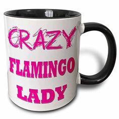 3dRose mug_175049_4 Crazy Flamingo Lady - Two Tone Black ...