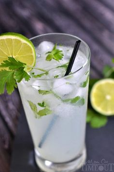 Coconut Lime Cilantro Cooler - Coconut Lime Cilantro Cooler 2 oz cup) coconut water 3 oz cup) sparkling water OR ginger ale OR club soda 1 oz Tbls) fresh lime juice 1 oz Tbls) rum (this is optional) 1 tsp chopped cilantro Summer Drink Recipes, Summer Drinks, Fun Drinks, Alcoholic Drinks, Cocktails, Water Recipes, Party Drinks, Cold Drinks, Aguas Frescas