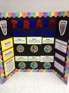 Science project(tornado in a bottle). Plant Science Fair Projects, Volcano Science Fair Project, Winning Science Fair Projects, 2nd Grade Science Projects, Science Project Board, Science Fair Board, Elementary Science Fair Projects, Science Experiments Kids, Science For Kids