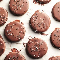 Chocolate Mint Cookie Thins - Part cookie, part chocolate bar and all delicious, these easy chocolate-mint cookie treats are even prettier when decorated with candied sprinkles. Holiday Cookie Recipes, Holiday Cookies, Candy Recipes, Holiday Baking, Holiday Treats, Christmas Baking, Sweet Recipes, Chocolate Mint Cookies, Chocolate Recipes