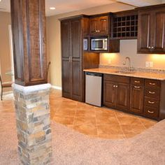 basement kitchenette idea and i like the post with rock - Basement Kitchen Ideas