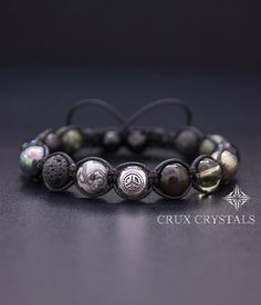 Mens Peace Love Bracelet Mixed Gemstone Beads by CruxCrystals