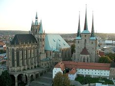The Catholic Erfurt Cathedral is a 1200 year old church located on Cathedral Hill of Erfurt, in Thuringia, Germany. It is of the International Gothic style, and is also known as St Mary's Cathedral, and is located, uniquely, on a hillside.