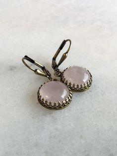 Real Rose Quartz Earrings, Antiqued Brass Leverbacks, Pink Gemstone Jewelry
