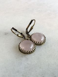 Real Rose Quartz Earrings, Antiqued Brass Leverbacks, Pink Gemstone Jewelry