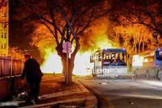 ANKARA, TURKEY - FEBRUARY 17: Turkish army service busses burn... #ankara: ANKARA, TURKEY - FEBRUARY 17: Turkish army service… #ankara