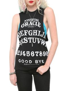 """Sleeveless T-shirt top from Ouija, the """"Mystifying Oracle,"""" with pyramid stud shoulder detailing."""