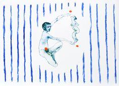 ra le mie braccia, 2013, acquarello su carta, 2008, 15x25 cm