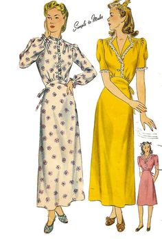 "Vintage 1940's Sewing Pattern Lace Trim Nightgown Tie Back Bust 30"" WWII #Simplicity"