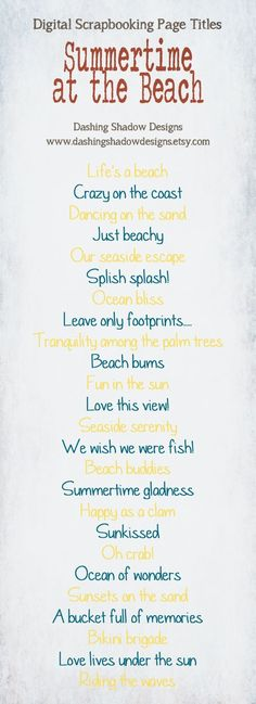 .Scrapbook Page Title Ideas - Summertime at the Beach. by viola