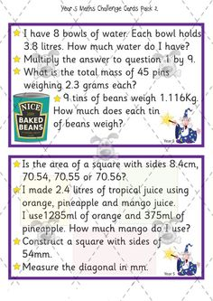 Maths challenge cards 2 for AGT