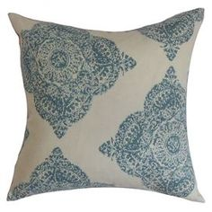"Throw pillow with a damask motif. Made in the USA.   Product: PillowConstruction Material: Cotton cover and high fiber fillColor: AquaFeatures:  Insert includedHidden zipper closureMade in Boston Dimensions: 18"" x 18""Cleaning and Care: Spot clean"