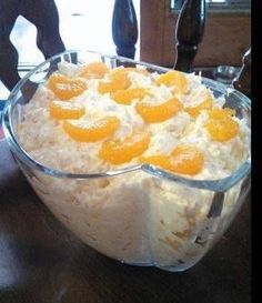 Mandarin Orange Salad: 1 pkg Vanilla Instant Pudding Mix (use dry), 1 Large can Crushed Pineapple (undrained), 2 Medium/Large cans Mandarin Oranges (drained), 1 pkg Cool Whip 8 oz | Chef recipes magazineChef recipes magazine