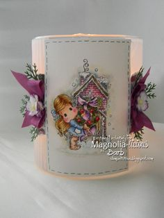 Using Tilda with Apple Wreath and Cozy Cottage images from Magnolia-licious™ I created with pretty glowing candle jar.