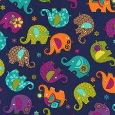 Elephant fabric in festive colors. Michael Miller House Designer - Elephant Romp - Elephant Romp in Midnight Elephant Zoo, Elephant Fabric, Elephants, Elephant Stuff, Colorful Elephant, Tissu Michael Miller, Michael Miller Fabric, Wet Bag, Modern Fabric