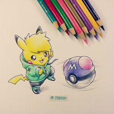 """""""I saved my Masterball for your heart! Though romance will always be one of the greatest sources of inspiration. We'll find ourselves breaking convention to keep our relationships strong with. Pikachu Drawing, Pikachu Art, Cute Pikachu, Deadpool Pikachu, Deadpool Art, Cartoon Drawings, Cute Drawings, Black Panther Drawing, Mew And Mewtwo"""