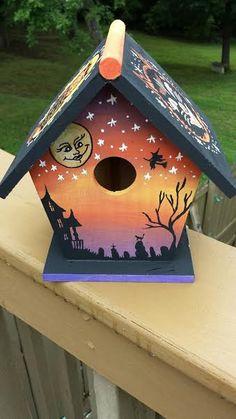 Halloween Birdhouse by ScarahStore on Etsy