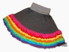 Rainbow ruffle skirt by Suvitus Ruffle Skirt, Tie Dye Skirt, Cheer Skirts, Rainbow, Unique, Kids, Crafts, Inspiration, Clothes