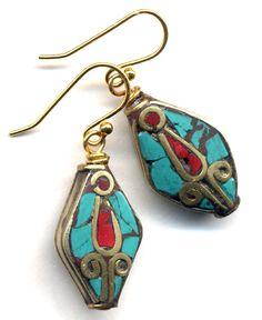 Nepalese Earrings Tibet Earrings Coral Turquoise by Annaart72, $35.00