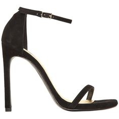 STUART WEITZMAN 120mm Nudist Suede Sandals - Black ($480) ❤ liked on Polyvore featuring shoes, sandals, black, black high heel shoes, suede sandals, black platform sandals, black sandals and leather sole shoes