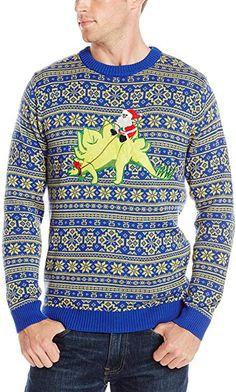 f5cc655822 Alex Stevens Men's Stegosaurus Santa Ride Ugly Christmas Sweater, Green  Combo, Medium at Amazon