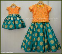 Traditional frock designs for sisters by Angalakruthi-Bangalore boutique Kids Dress Wear, Dresses Kids Girl, Kids Outfits, Girls Frock Design, Baby Dress Design, Baby Frocks Designs, Kids Frocks Design, Traditional Dresses For Kids, Frocks For Babies