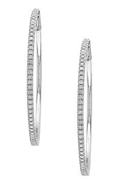 14K White Gold Diamond Hoop Earrings - 0.50 ctw