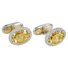 Oval Fancy Yellow Diamond Gold Platinum Cufflinks