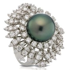 George Hakim - White gold ring with white diamonds and a black Tahitian pearl. Pearl And Diamond Ring, Pearl Rings, Black Pearl Jewelry, Jewelry Rings, Jewelery, Jewelry Showcases, Tahitian Pearls, Fantasy Jewelry, White Gold Rings