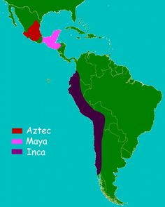 "History for Kids: Aztecs, Maya, and Inca. Repinned by Elizabeth VanBuskirk on ""Teaching about the Incas.""  A good way to visualize the difference between Inca (South America), Maya (Central America) and Aztec (Mexico)."