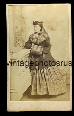civil war fur hand warmer hoop dress fashion elegant lady 3c tax revenue stamp  c1860 CDV by whipple boston Massachusetts